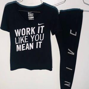 Nike dri-fit women's black top and leggings bundle